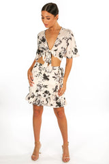 Floral Print Wrap Look Skirt In White