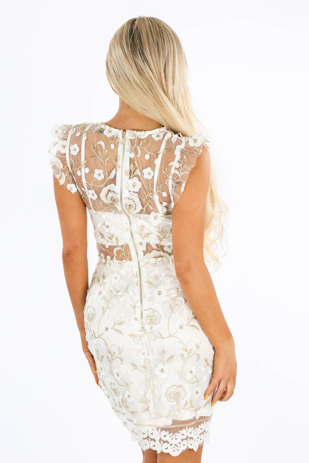 White Embroidered Mini Dress With Sheer Panel