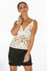 White Embroidered Peplum Cami