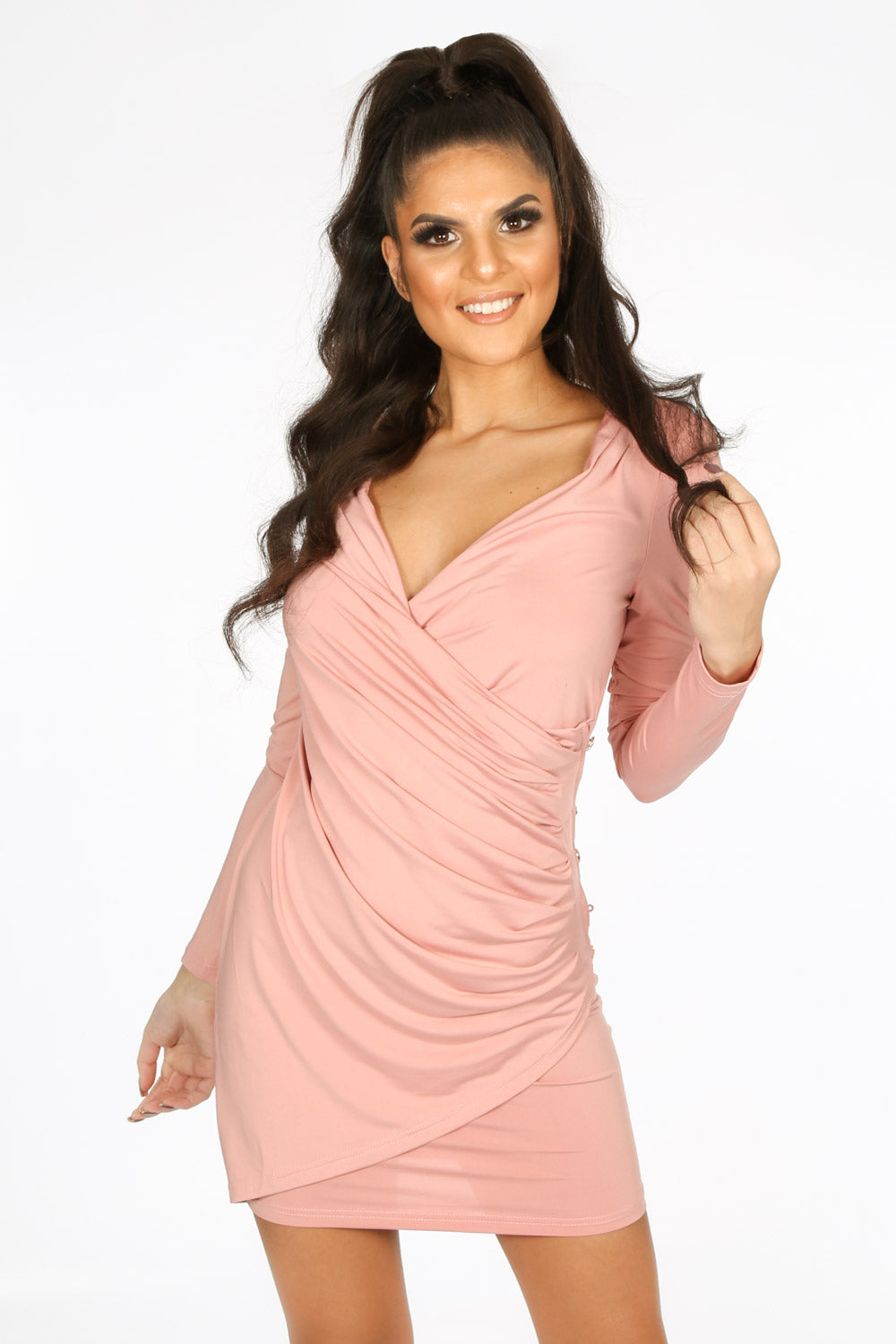 Pink Plunge Wrap Mini Bodycon Dress