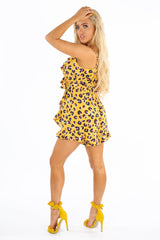 Yellow Leopard Print Frill Playsuit