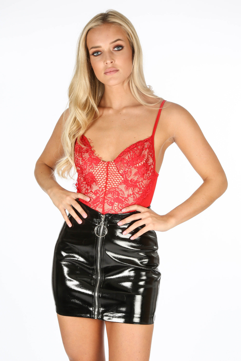 Black Vinyl Zip Front Mini Skirt