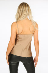 Taupe Satin Cowl Neck Cami Top