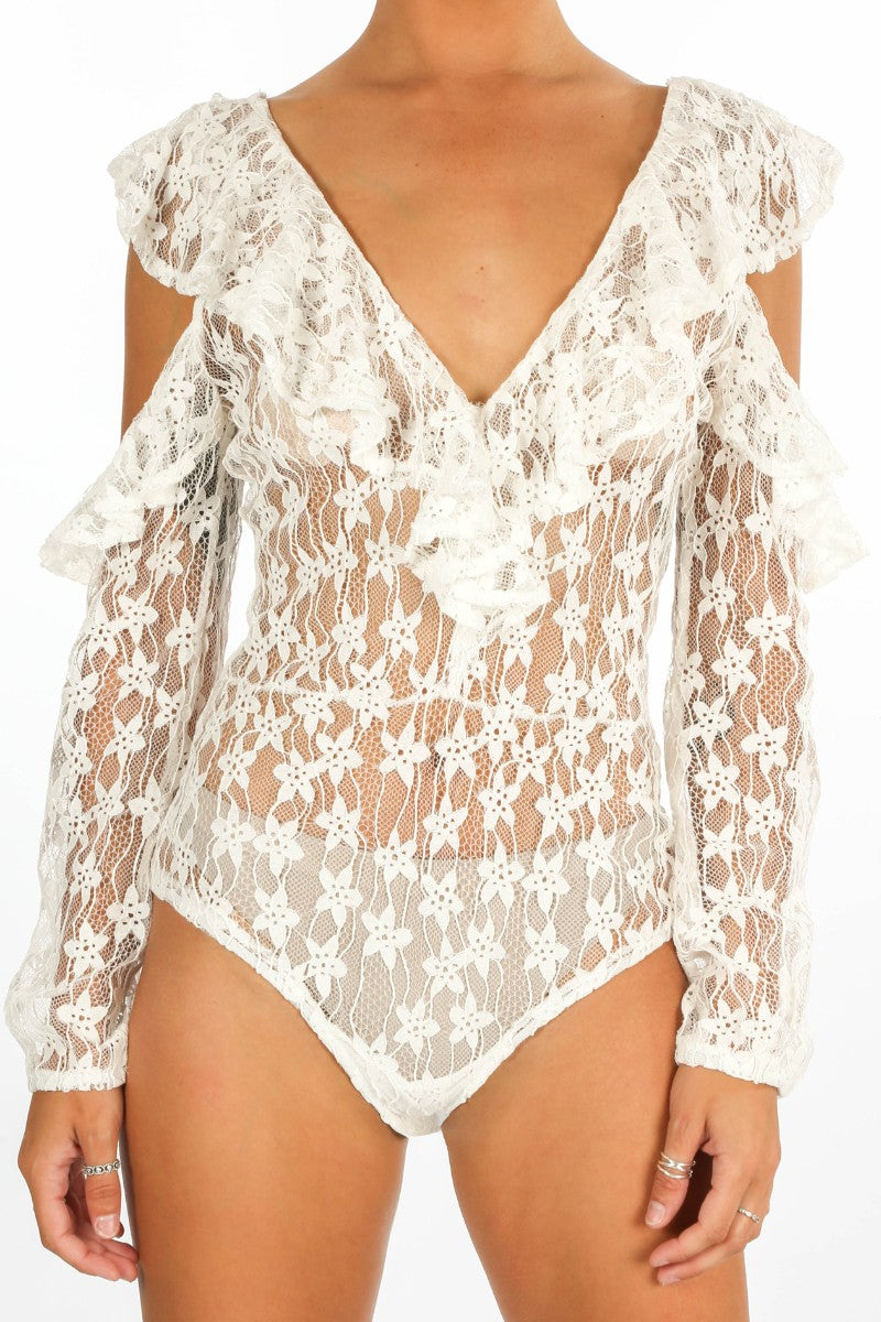White Long Sleeve Sheer Frill Lace Bodysuit