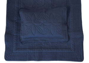 Straight Edge Single Quilt and Pillow set in Navy