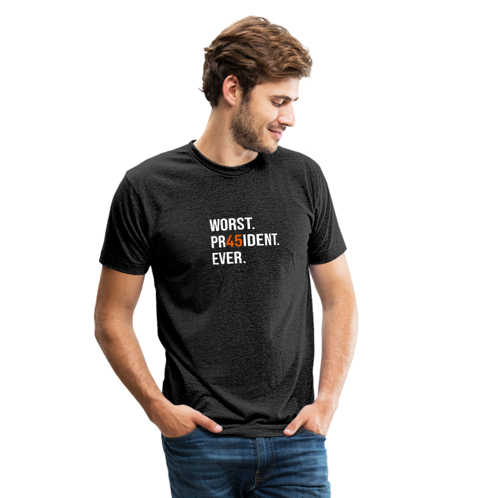 "White & Orange ""45"" Tri-Blend Shirt (Unisex) - heather black"
