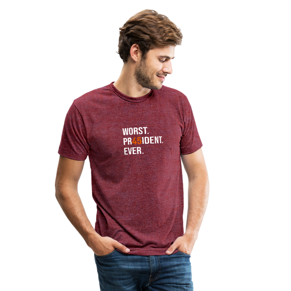 "White & Orange ""45"" Tri-Blend Shirt (Unisex) - heather cranberry"