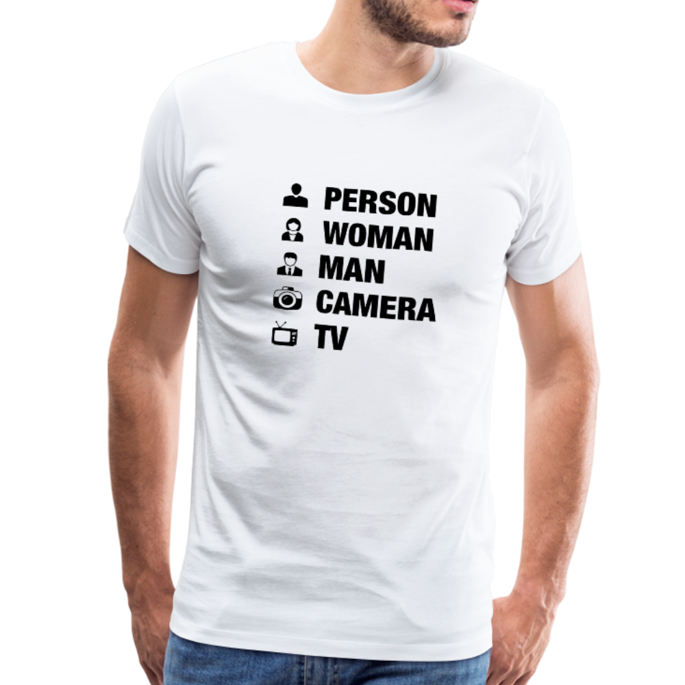 Person Woman Man Camera TV Anti-Trump Men's T-Shirt - white