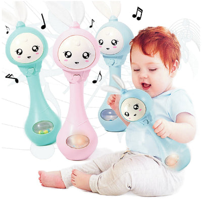 2-in-1 Bunny-Shaped Rattle & Teether Toy
