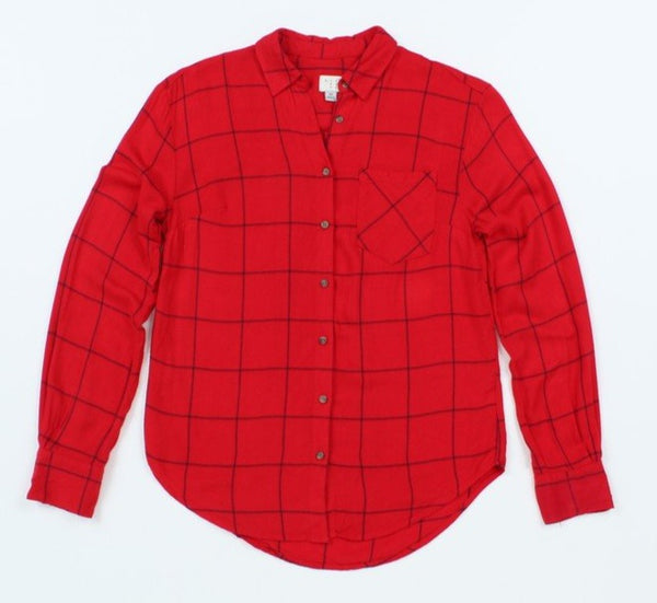 A New Day Women Flannel Long-Sleeve Button-Down XS