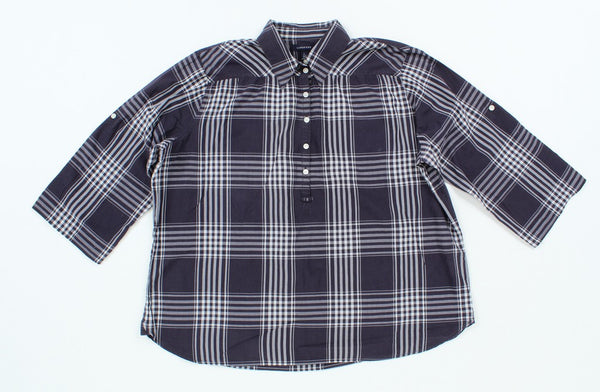 Lands' End Plaid Button-Up L