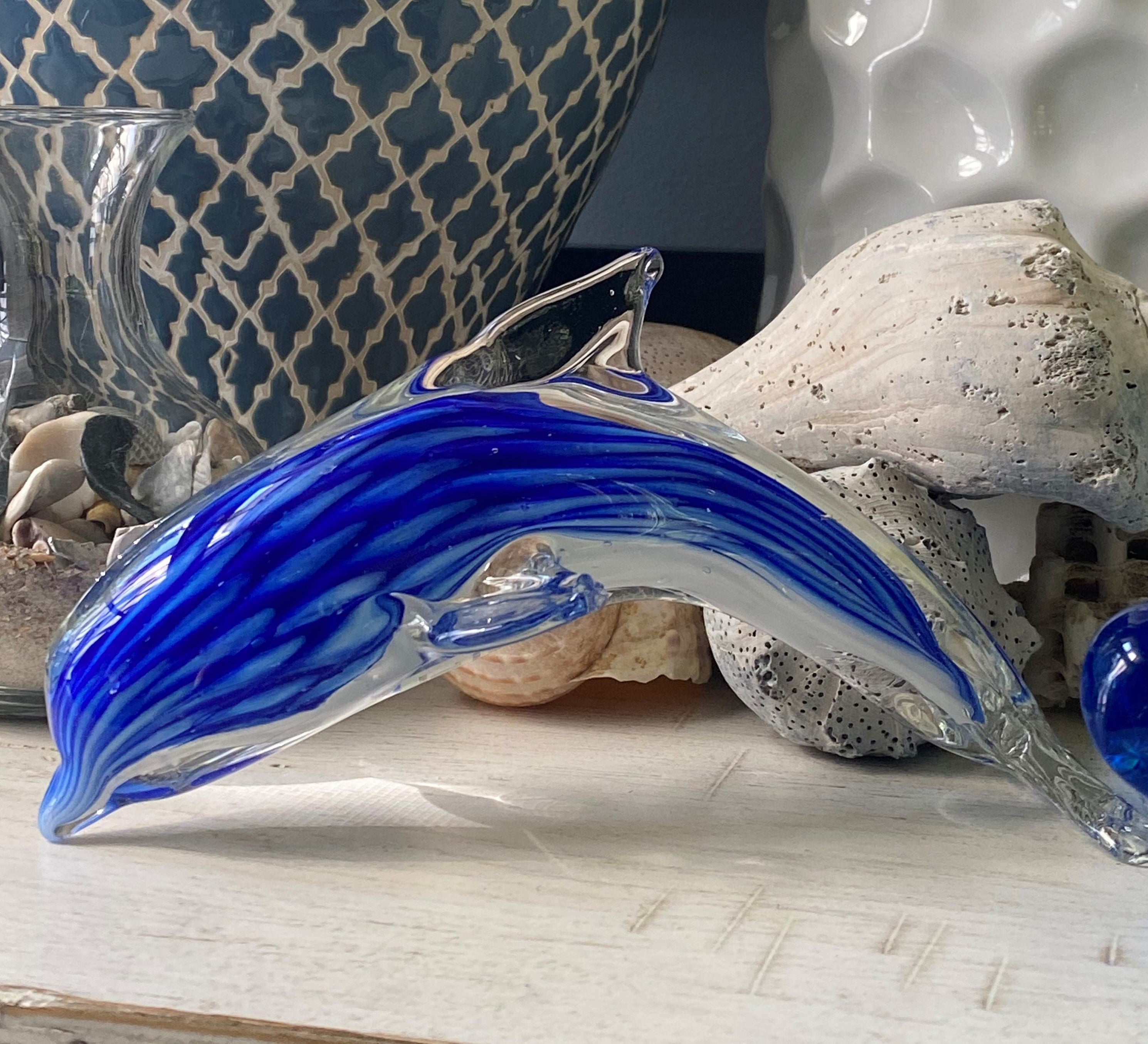 Jumping Dolphin Glass Art