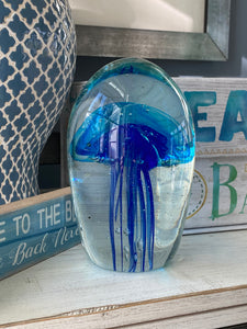 Double Blue Jellyfish Glass Art