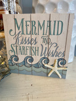 Load image into Gallery viewer, Mermaid Kisses Starfish Wishes Box Sign