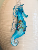 Load image into Gallery viewer, Blue Glass Seahorse Ornament