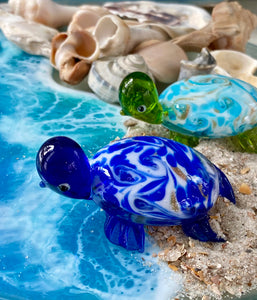 Mini Turquoise Swirl Turtle Glass Figurine