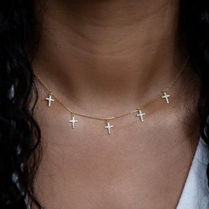 Tiny Multi Cross Choker Necklace