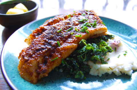 Parmesan-Paprika Lingcod With Creamed Kale & Mashed Red Potatoes