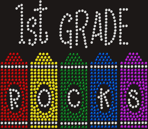 1st Grade Rocks Bling T-Shirt for Kids