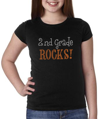 Rhinestone 2nd Grade Rocks t-shirt