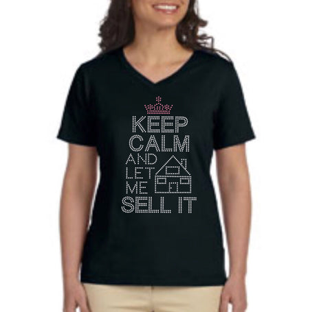Rhinestone Keep Calm Realtor t-shirt