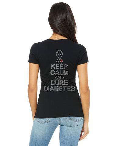 Bling Keep Calm Cure Diabetes T-shirt