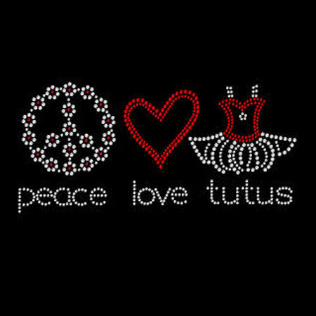 Bling Peace Love Tutus Kids T-shirt