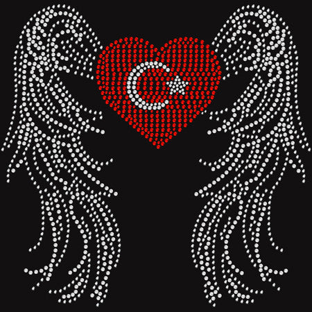 Rhinestone Turkish Flag w/Angel Wings t-shirt