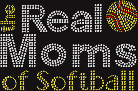 Bling Real Moms of Softball T-shirt