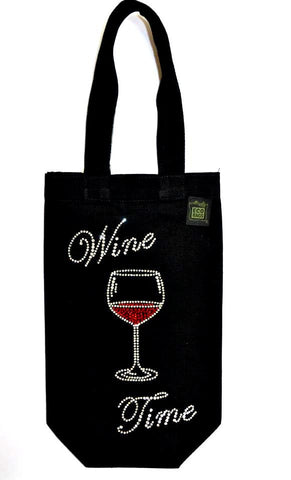 Wine Tote with Bling Wine Time design
