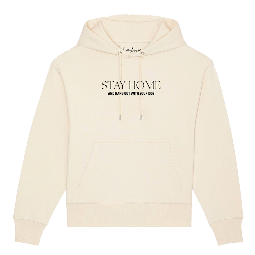 "Oversize Hoodie ""STAY HOME"" Cream - Lieferung Ende April"