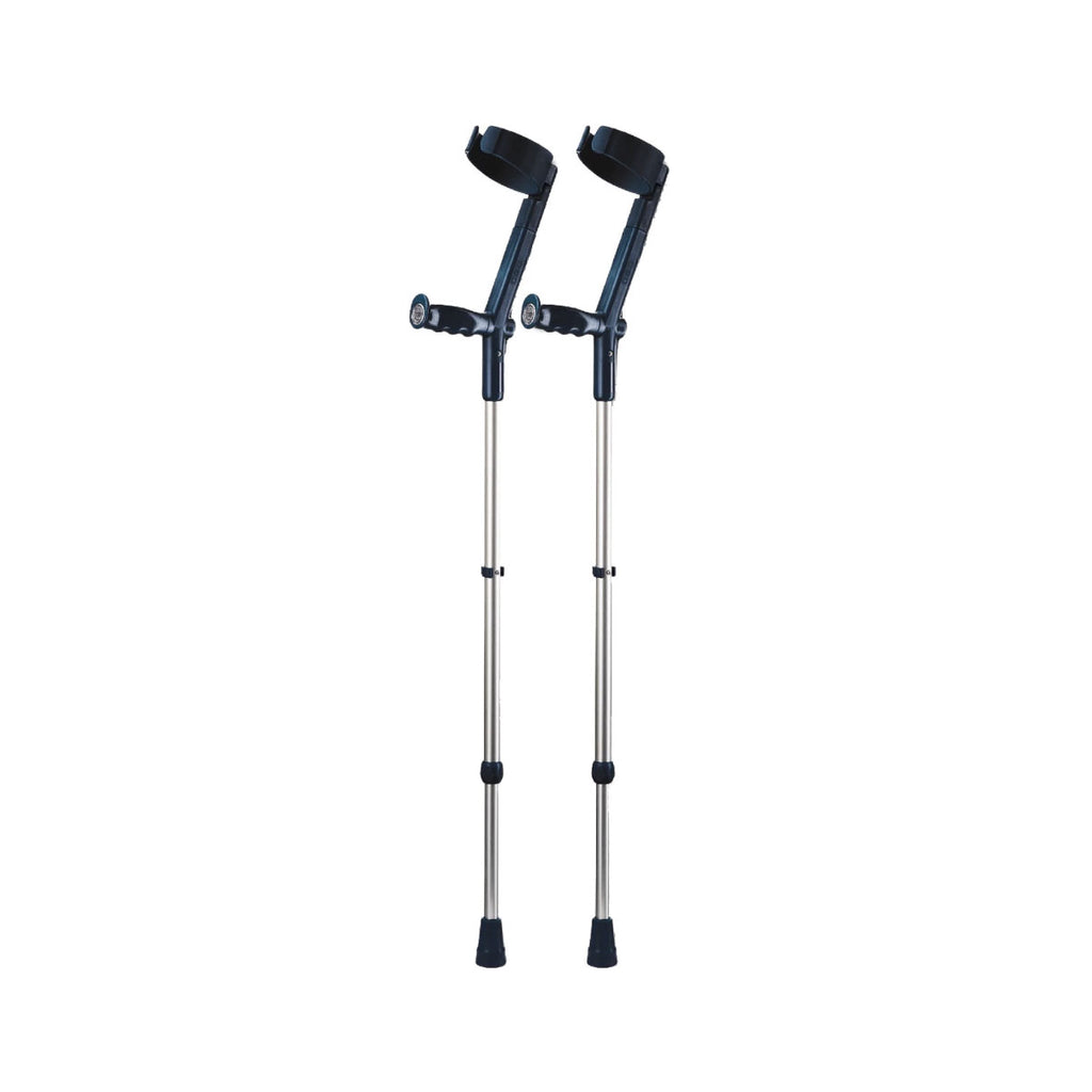 Rebotec Safe-In-Soft - Forearm Crutches with Cuff & Hinge - Black