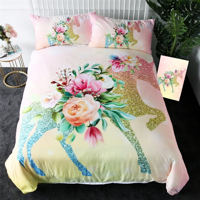 Cartoon Unicorn Kids Bedding Set King Rose Floral Duvet Cover Girly Home Textiles Purple Bedclothes 3pcs Drop Ship
