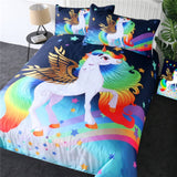 Unicorn Bedding for Teens Golden Winged Unicorn Bedspreads Rainbow Stars Fantasy Duvet Cover Kids Magical Bed Set