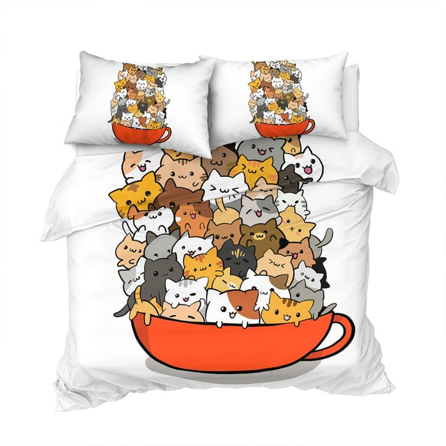 Teacup Cat Bedding Set Comforter Cover Cute Bed Set King Cartoon Kids Bedspreads 3pcs Animal Lover Parure De Lit