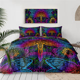 Dragonfly Mandala Bedding Set Insect Print Duvet Cover Set Purple Pink Bedclothes Colorful Home Textiles Drop Ship