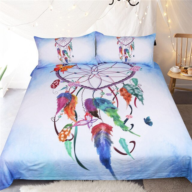 Heart Dreamcatcher Bedding Set Pink and Sky Blue Duvet Cover Watercolor Feather Bed Set Soft Microfiber Bedclothes
