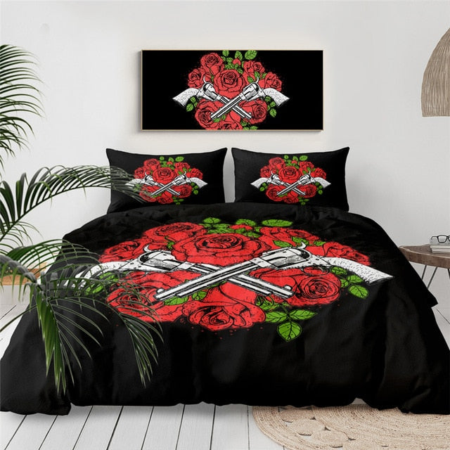 Floral Skull Bedding Set King Duvet Cover 3pcs Sugar Skull Gothic Bedlinen Flowers Black White Euro Bed Cover Set
