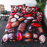 Chocolate Bedding Set Sweet Candy Duvet Cover Queen Red Lips Girls Quilt Cover Dessert Bed Set 3pcs parrure de lit