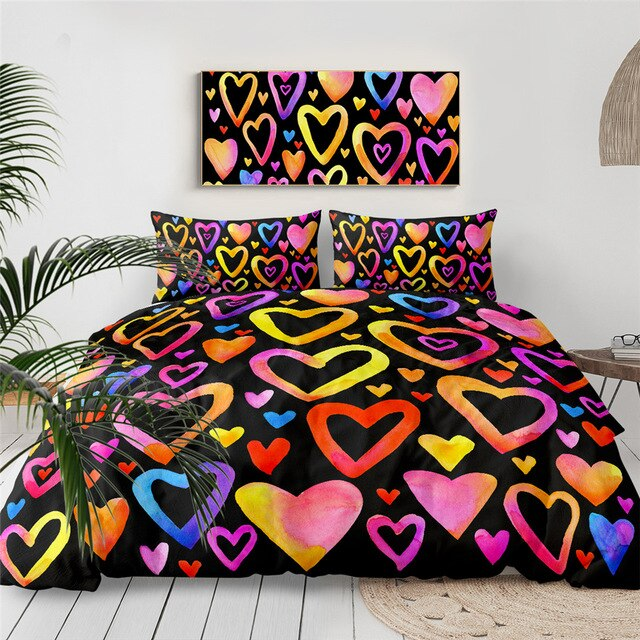 I Love You Bedding Set Letters Duvet Cover Red Hearts Quilt Cover Romantic Bed Set 3-Piece Valentine's Day Gift