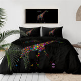 Funny Giraffe Bedding Set Animals Duvet Cover with Pillowcases Rainbow Sunglasses Bedclothes Orangutan Bed Cover