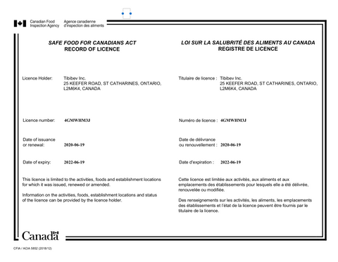 copy of Safe Food License from Canadian Food Inspection Agency