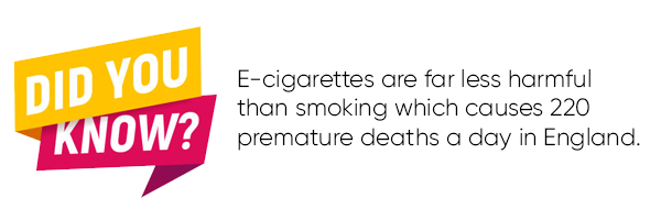 E-cigarettes are far less harmful than smoking which causes 220 premature deaths a day in England.