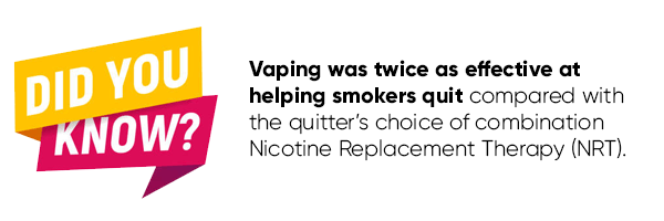 Vaping was twice as effective at helping smokers quit compared with the quitter's choice of combination Nicotine Replacement Therapy (NRT).