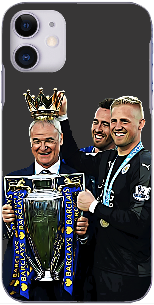 Leicester City - Claudio Ranieri with Kasper Schmeichel, Christian Fuchs and the Premier League trophy 2016