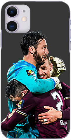 Hearts - Craig Gordon is hugged by Michael Smith and Craig Halkett Scottish Cup semi final 2020