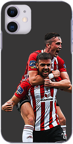 Derry City - Darren Cole celebrates with Aaron McEneff after scoring in the EA Sports Cup final 2018