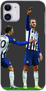 Brighton and Hove Albion - Glenn Murray and Solly March celebrate at the London Stadium 2020