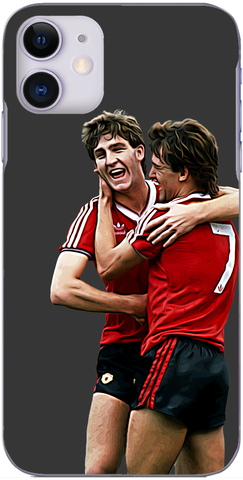 Man United - Bryan Robson and Norman Whiteside celebrate 1982