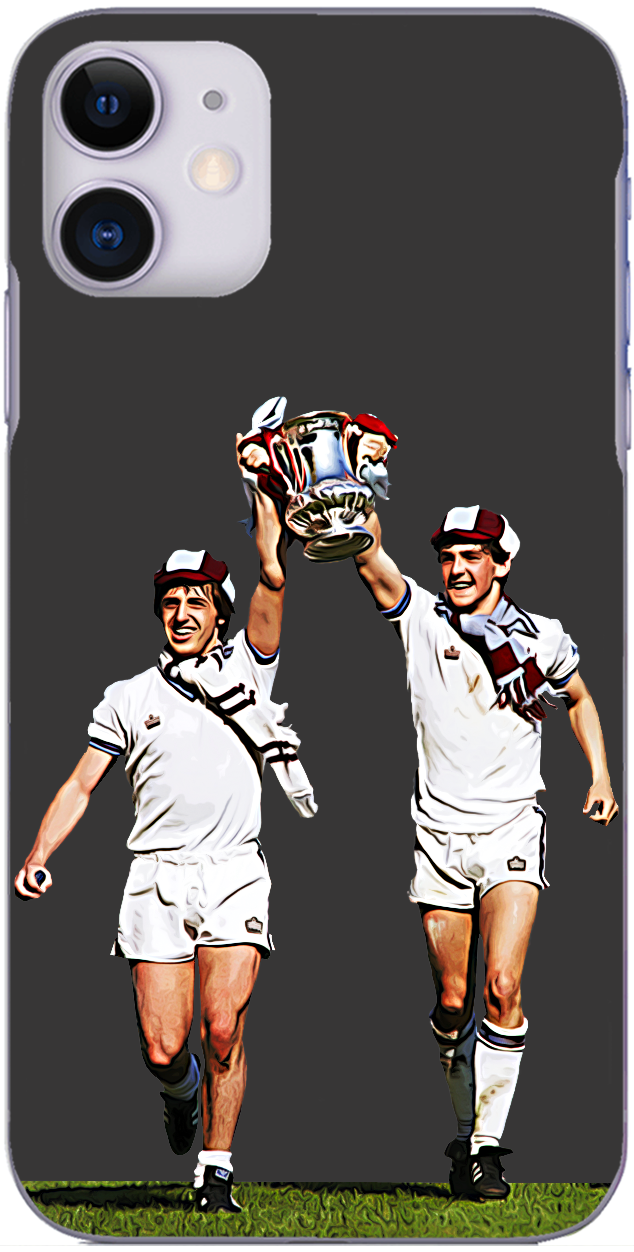 West Ham United - Geoff Pike and Paul Allen with the FA Cup 1980